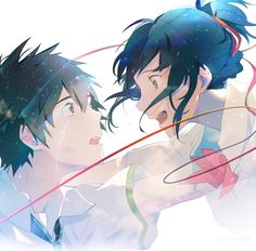 Kimi no Na wa Anime In, Art Anime, Anime Kawaii, Anime Artwork, Me Me Me Anime, Manga Anime, Kimi No Na Wa, Mitsuha And Taki, Manga Romance