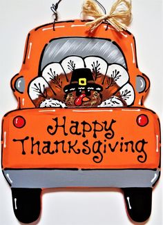 "Great Photos HAPPY THANKSGIVING Turkey TRUCK Wall Art Sign Door Hanger Fall Autumn Plaque Handcrafted Hand Painted Wood Wooden Decor Door Hanger Suggestions Your individual door hanger Sure, the classic is of course the door pendant, where on the front ""d Halloween Door Hangers, Fall Door Hangers, Burlap Door Hangers, Wooden Door Signs, Wooden Decor, Wooden Plaques, Wooden Blocks, Rustic Decor, Happy Thanksgiving Turkey"