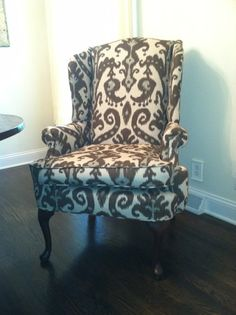 Ikat print upholstered wingback chair by theheggies on Etsy, $525.00