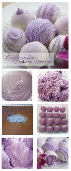 LAVENDER CAKE BALLS:  1 box vanilla cake mix, 2 cans vanilla frosting, food color gel, candy coating, & sanding sugar. • Prepare cake mix according to pkg dir. Stir desired food color gel into batter.  • Bake & cool completely. Slice off browned outside of cake; discard. • Stir desired food color gel into icing. • In lg bowl, crumble cake into tiny pieces. Add about 1/2 can colored icing & mix tog. • Roll into med size balls. Freeze 15 min. • Dip into candy coating & decorate.