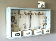 DIY Hanging Jewelry Storage Display by A Time For Everything Hanging Jewelry Organizer, Jewelry Organization, Home Organization, Organizing Ideas, Bracelet Organizer, Shoe Organizer, Organizar Closet, Ideas Para Organizar, Diy Casa