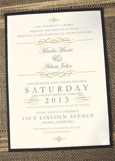 Vintage Elegance Wedding Invitation. $2.25, via Etsy.