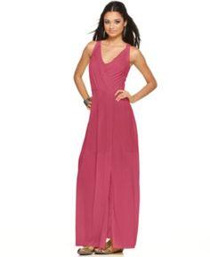 BCBGMAXAZRIA Dress, Sleeveless Pleated V-Neck Maxi - Womens Dresses - Macy's
