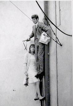 Anna Karina and Jean-Paul Belmondo on 'Pierrot Le Fou'.
