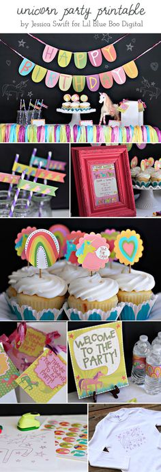 Unicorn DIY Party Printable Package by Jessica Swift via lilblueboo.com