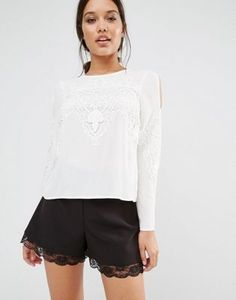 1b18ddcd5b08fd Lipsy Lace Insert Angel Sleeve Blouse. White Cold Shoulder TopCold ...