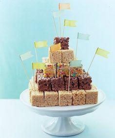 Wedding cake alternative + birthday cake alternative   Rice Crispy Square Towers that the kids will LOVE!