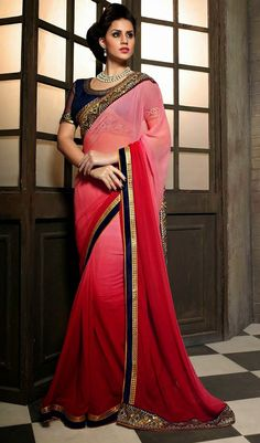 USD 47.39 Pink Georgette Party Wear Saree 44912
