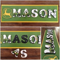 John deere themed room name plaque Name Puzzle, Name Plaques, Nursery, Names, Lettering, Handmade Gifts, Painting, Etsy, Awesome
