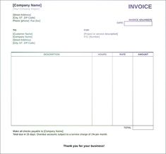 Blank Invoices To Print Extraordinary 8 Best Fillable Invoice Blank In Pdf Images On Pinterest