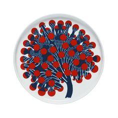 Merivuokko tallerknen fra Marimekko designet af Kustaa Saksi. forestiller en levende søanemone.