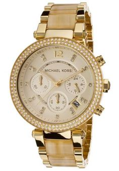 MICHAEL-KORS-MK5632-WOMENS-CHRONOGRAPH-PARKER-HORN-GOLD-TONE-WATCH-NEW-295