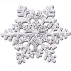 Cute Rhinestone Christmas Snowflake Brooch Jewelry For Women ($3.30) ❤  Liked On Polyvore Featuring