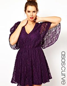ASOS CURVE Lace Dress With Cape Back
