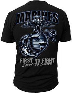 EG&A - First to Fight - T-Shirt Men's T-Shirt Cotton Machine Washable Short Sleeve T-shirt Crew Neck Collar T-shirt Proudly Printed in the U. Men's Marines T-Shirt to represen Marine Mom, Marine Corps, Marine Life, Tee Shirts, Usmc Clothing, Marines Girlfriend, Navy Girlfriend, Military Mom, T Shirts