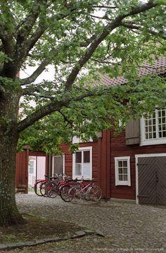 Red wooden houses, Eksjoe, Smaland, Sweden, Europe