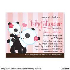 Baby Girl Cute Panda Baby Shower 4.25x5.5 Paper Invitation Card ...