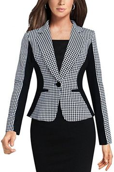 Babyonline Women s Casual Work Jacket One Button Plus Size Boyfriend Blazer  Coat… 09fe7ccec28a