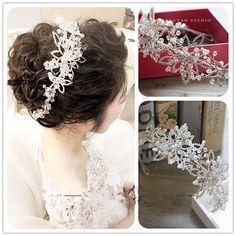 Wedding Bridal Rhinestone Pearls Headpiece Crystal Hair Tiara Headband Accessory