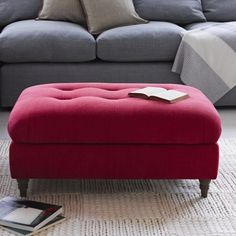 Our Footsie footstool has a gorgeous squidgy cushion top with blind button detail and lovely weathered oak legs. Handmade in Blighty. Upholstered Footstool, Ottoman, Comfy Sofa, Weathered Oak, Living Room Inspiration, Soft Furnishings, Sofas, Upholstery