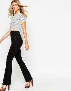 ASOS 70's High Waist Flares with Button up and Patch Pockets