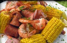 Low Country boil, better happen before the corn's gone for the seasonn