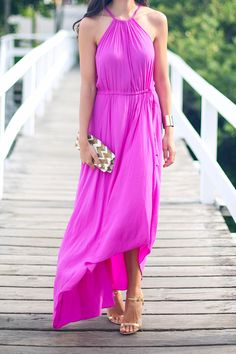 pink maxi dress, cute for a beach wedding guest outfit