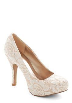 Soft Steps Heel - White, Solid, Lace, Wedding, Bride, Good, High