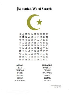 A Crafty Arab: Ramadan Word Search. Today we took a break from crafting so I created a Ramadan word Search for the girls to do. I figured it would keep them busy for at least a little while. Hope you enjoy it too.   Related
