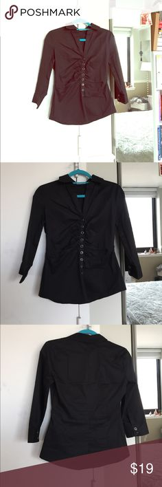 New York and Company Top New York & Co. trendy work top. Button down with a sinched look for a feminine feel. Good condition. @B New York & Company Tops