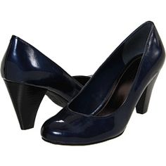 Navy patent leather cone heels
