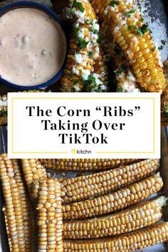 "I Tried the Corn ""Ribs"" Taking Over TikTok | Kitchn Buffalo Cauliflower Bites, Feta Pasta, Easy Party Food, Summer Side Dishes, Crispy Potatoes, Rib Recipes, Fresh Lime Juice, Pork Ribs, Vegan Foods"