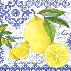 Lemons and Olives-single by Elena Vladykina Vintage Diy, Vintage Tin Signs, Vintage Labels, Lemon Art, Mosaic Projects, Foto Art, Decoupage Paper, Kitchen Wall Art, Fruit Art