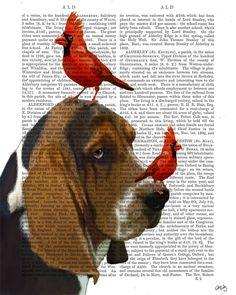 Basset Hound Dog and Birds Original Painting Acyclic by FabFunky, $12.00