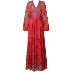 Ulla Johnson Red Long Peasant Dress (35.170 RUB) ❤ liked on Polyvore featuring dresses, red, ruffle dress, red peasant dress, long red dress, flounce dress and red ruffle dress