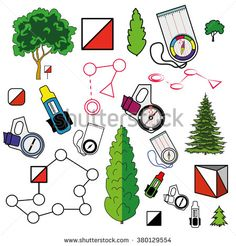 Sports orienteering icons set of elements: control points, compasses, punching cards, plants. Flat. Modern clear vector illustration. Isolated on white background. Orienteering, navigation equipment