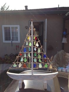 Sea glass sail boat