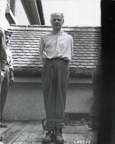 Execution of SS concentration camp physician Eduard Krebsach who was convicted of war crimes at the Mauthausen trial. Krebsbach was an SS concentration camp physician who initiated the mass execution of ill and unfit prisoners by heart injections.