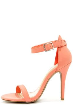 Anne Michelle Enzo 01 Melon Coral Single Strap Heels love these for spring..