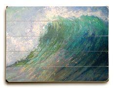 Seascape Painting Giclee Print on Wood by CarolSchiffStudio Wood Plank Walls, Wood Paneling, Wall Of Water, Seascape Paintings, Wood Wall Art, Wood Print, Wood Signs, Fine Art America, Giclee Print