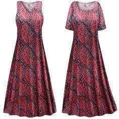 Customizable Berry Navy Paisley Slinky Print Plus Size & Supersize Short or Long Sleeve Dresses & Tanks - Sizes Lg XL 1x 2x 3x 4x 5x 6x 7x 8x 9x