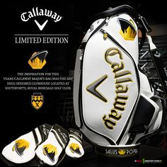 """#TheOpen 2017 Callaway Major Limited Edition Staff Bag The inspiration for this years major's bag was the art deco designed clubhouse located at Southport's, Royal Birkdale Golf Club⛳️. The steamliner on the bag represents the clubhouse and its intentional design to look like a steamliner cruising over the sand hills of the course. The crown holding up the steamliner represents Birkdale's """"Royal"""" status. #OpenChampionship   #CallawayGolf"""