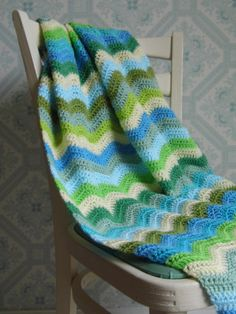 Crochet Ripple Blanket in Blues and Greens