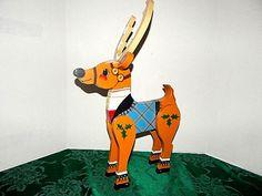 "Reindeer 3D Tole Painted Wooden Folk Art 20"" Santa's Vixen Christmas Decoration"