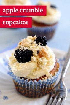 Apple Crumble Cupcakes – Mix cinnamon and chopped apples with yellow cake mix to make these scrumptious dessert cupcakes. Top with streusel and blackberries for the crispy, fruity finish.