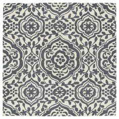 Kaleen Rugs Runway Charcoal/Ivory Damask Hand-Tufted Rug