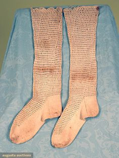 Augusta Auctions, November, 2007 -Tasha Tudor Historic Costume Collection, Lot 322: Knit Lace Stockings, America, 1800-1850