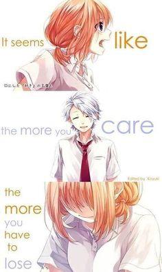 Ima Suki ni Naru - Anime Worlds Sad Anime Quotes, Manga Quotes, Sad Quotes, Depressing Quotes, Deep Quotes, Manga Anime, Manga Girl, Honey Works, Another Anime