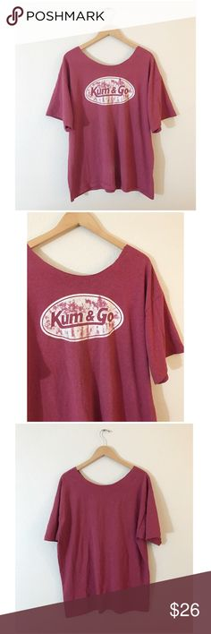 """•90's VTG Kum & Go Oversized Scoop Tee• •MEASUREMENTS• Bust-50"""" Length- 29""""  •Hand altered • No tagged size or brand• will fit sizes XS-XL depending on how oversized you want it (please refer to measurements)• Some light pilling due to wear (pictured)•  •NO TRADES•❌NOT UNIF❌•NOT MODELING•  #90s #vintage #grunge #scoopneck #slouchy #funny #graphic #distressed UNIF Tops Tees - Short Sleeve"""