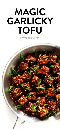 Magic Garlicky Tofu - An unbelievably delicious tofu stir-fry, made with my easy baked tofu recipe and tossed with the most heavenly garlic black pepper sauce. Vegan, gluten free if you use Tamara. Veggie Recipes, Asian Recipes, Whole Food Recipes, Cooking Recipes, Healthy Recipes, Garlic Recipes, Recipes Dinner, Recipes With Baked Tofu, Vegetarian Recipes Delicious